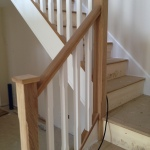 American White Oak Staircase with Painted White Spindles View Upton Bude